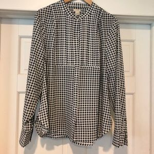 Jcrew Tunic Black and White Gingham Blouse